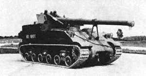 Side and front view of a 155 mm Gun Motor Carriage, M40
